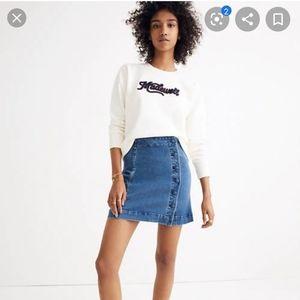 Madewell denim A-line mini skirt-- Asymmetrical